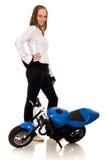 她的pocketbike年轻人 免版税库存照片