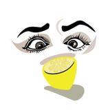 她眼睛看一个柠檬 向量例证