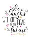 她笑,不用对未来的恐惧 向量例证
