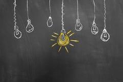 好主意在黑板或黑板的电灯泡图画 免版税库存图片