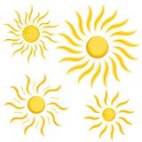 好和简单的黄色太阳 免版税库存照片