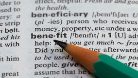 好处在页的词定义在词汇量、商业利益和收入 股票录像
