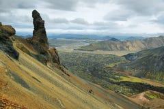 好奇岩层在Bennisteinsalda 库存照片