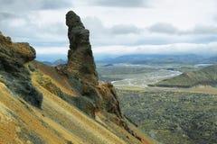 好奇岩层在Bennisteinsalda 库存图片