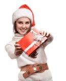 好女孩产生礼品 免版税图库摄影