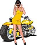 好女孩和我原始的被设计的摩托车 库存图片