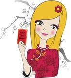 好女孩汉语  库存照片