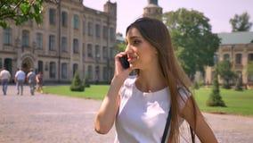 好少妇在公园站立自白天,谈话在电话,通信概念 股票录像