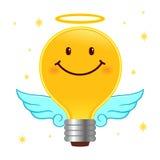 好想法、天使电灯泡与翼和光晕 免版税库存照片
