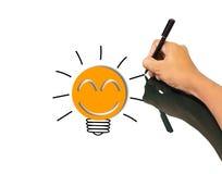 好想法的纸电灯泡隐喻 免版税图库摄影