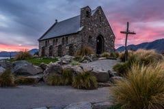 好牧羊人的教会,新西兰好牧羊人的教会在特卡波湖岸位于  库存图片
