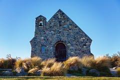 好牧羊人的著名教会特卡波湖的,新西兰 免版税库存照片
