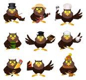 好的传染媒介动画片套猫头鹰 库存图片