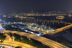 好的夜视图morden大厦,香港 库存图片