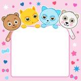 好的幼稚动画片背景 小动物 小猫 熊猫 狐狸 熊 免版税库存照片