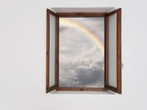 更好的时期前面,概念 在改善的天气的窗口 库存图片