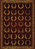好的月桂树花圈设置了金子颜色 向量例证