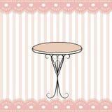 好的桌和滑稽的桃红色被剥离的象 免版税库存照片