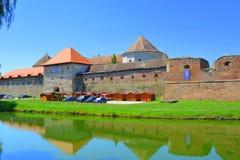 好的横向 老中世纪堡垒在城市Fagaras,特兰西瓦尼亚 图库摄影