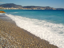 好的法国天蓝色海滩 免版税库存照片