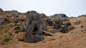 好的看起来的被腐蚀的岩石西部挪威 免版税库存图片