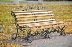 好的长凳在秋天公园 免版税图库摄影