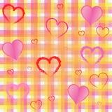 好的组织正方形和心脏背景 免版税库存图片