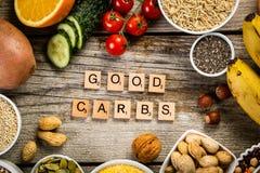 好碳水化合物来源的选择 饮食健康素食主义者 库存照片