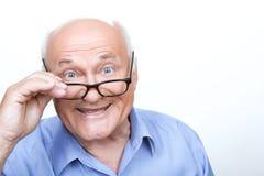 好祖父感人的眼镜 图库摄影