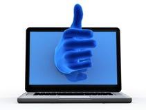 好符号。 从屏幕的蓝色现有量 免版税库存照片