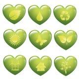 好能量的集合绿色心脏-生态概念-商标 免版税库存照片