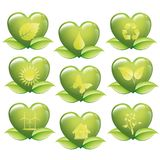 好能量的集合绿色心脏-生态概念-商标 免版税库存图片