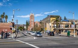 好莱坞大道和好莱坞第一长老会和好莱坞签署背景-洛杉矶,加利福尼亚,美国 图库摄影