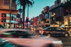 好莱坞大道在晚上 库存照片