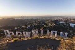 好莱坞标志日出 免版税库存图片