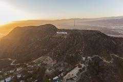 好莱坞标志格里斐斯公园洛杉矶日落 免版税库存图片