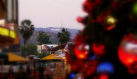 好莱坞标志@圣诞节时间 免版税库存图片