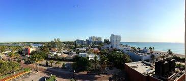 好莱坞海滩,全景视图 免版税库存照片