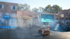 好莱坞特技在电影世界英属黄金海岸昆士兰澳大利亚的司机展示 股票录像