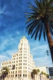 好莱坞第一个国家银行大厦在好莱坞洛杉矶 免版税图库摄影