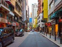 好莱坞路,香港- 2015年11月19日:好莱坞路是第一条路 免版税库存图片