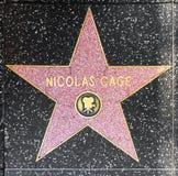 演员在名望好莱坞步行的尼古拉斯Cage的星  免版税库存图片