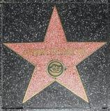女演员在名望好莱坞步行的德比雷诺兹的星  免版税库存照片