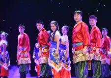 好运和幸福对你西藏人民间舞 库存照片