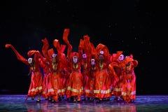好运和幸福对你西藏人民间舞 免版税库存图片