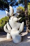 好,法国- 2011年10月22日 基础Maeght 霍安Mirï ¿ ½ Sculpturs在室外庭院里 吉恩Arp 现代欧洲艺术 免版税库存图片