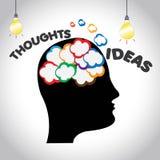 好主意和thougnts在人` s头脑例证 向量例证
