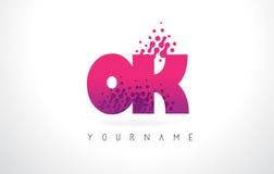 好O.K.与桃红色紫色颜色和微粒小点Des的Letter Logo 免版税库存图片