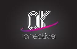 好O.K.与线设计和紫色Swoosh的Letter Logo 库存图片