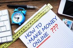 如何使金钱网上问题手写在算术书 图库摄影